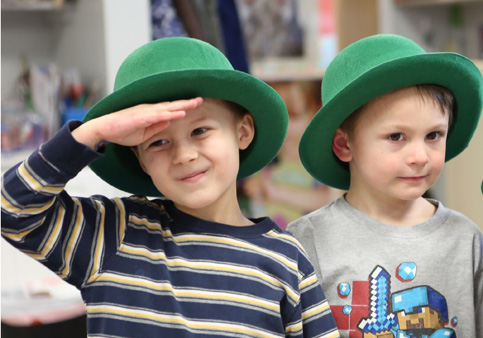 Kids from younger fours classroom at Sunshine Nursery School getting ready for St. Patrick's Day festivities.