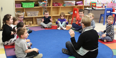 Circle time at younger 4's classroom at Sunshine Nursery School.