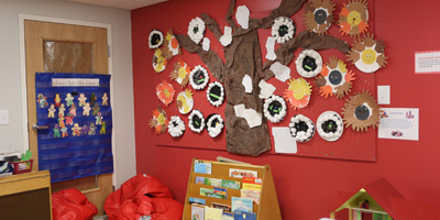 Older fours classroom at Sunshine Nursery School in Arlington, MA.