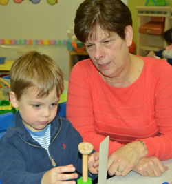 Mrs. Ellis, teacher for threes classroom at Sunshine Nursery School.