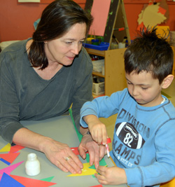 Mrs. Nicoloro, lead teacher for pre-k classroom at Sunshine Nursery School.